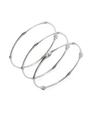 Bamboo White Topaz & Sterling Silver Bangle Bracelet Set by John Hardy