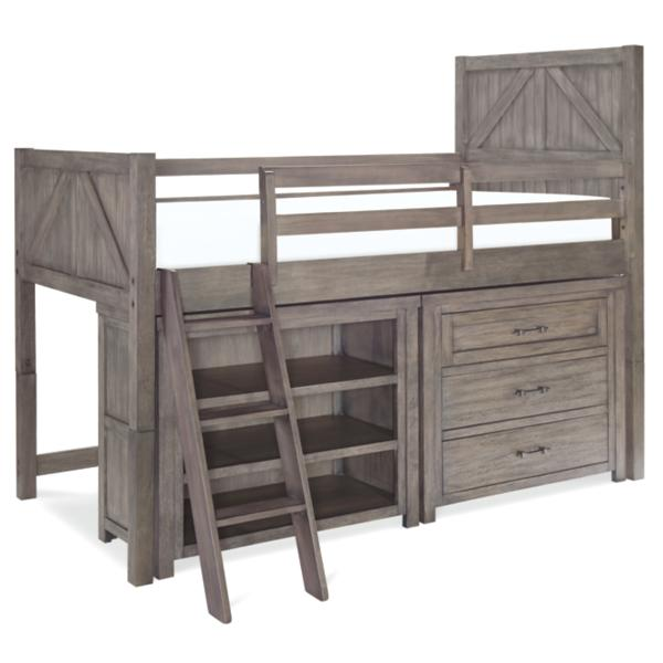 Bunkhouse 3 Piece Mid Loft Twin Bed with Single Dresser & Bookcase Youth Bedroom Set