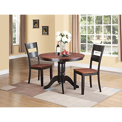 Black Round Dining Set: Madera 5 Piece Round Carmel/Black Dining Set