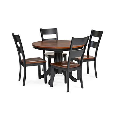 Round Table Madera.Madera 5 Piece Round Carmel Black Dining Set Star Furniture