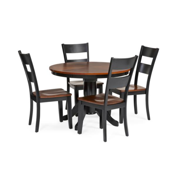 Madera 5 Piece Round Carmel/Black Dining Set
