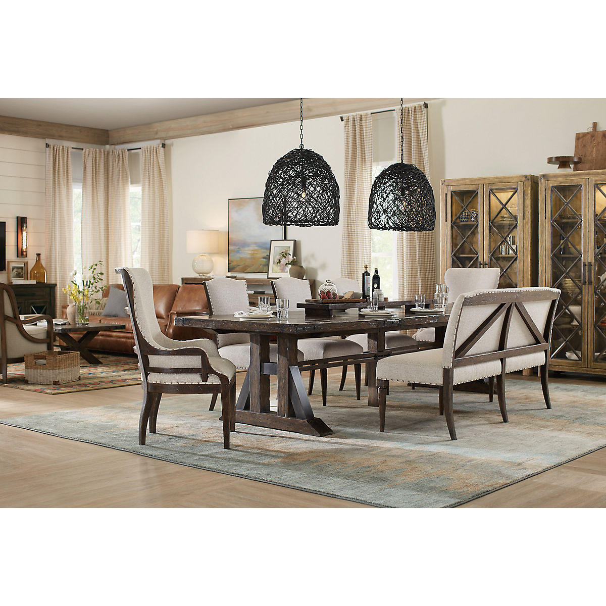 Tremendous Roslyn County 5 Piece Rectangle Dining Room Set Star Furniture Home Interior And Landscaping Transignezvosmurscom