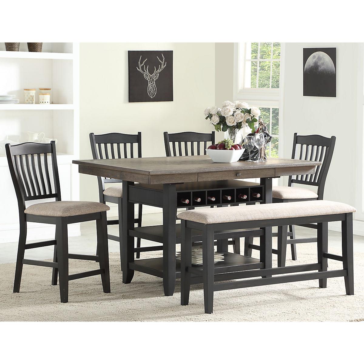 Garth 5 Piece Counter Height Black Dining Set | Star Furniture