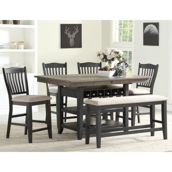 Garth 5 Piece Counter Height Black Dining Set