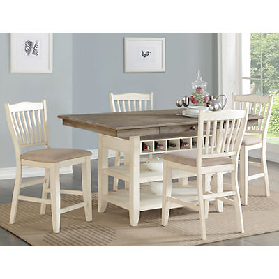 Garth 5 Piece White Counter Height Dining Set