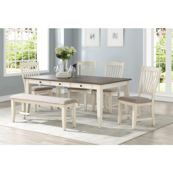 Garth 5 Piece White Dining Set