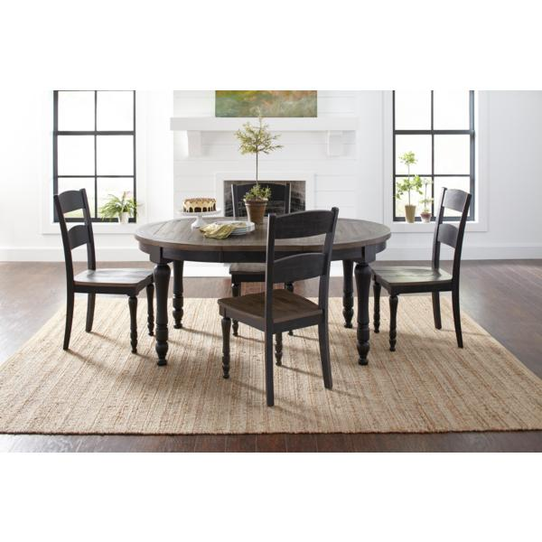 Ginger 5 Piece Round Dining Set - BLACK