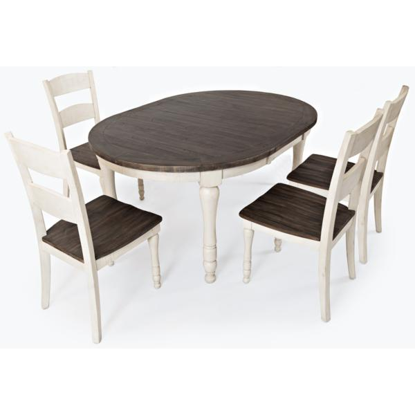 Ginger 5 Piece Round Dining Set - WHITE