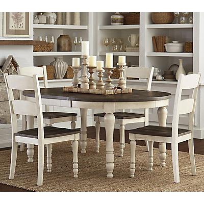 Ginger 5 Piece Round White Dining Set