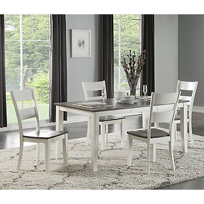 Madera White/Grey 5 Piece Leg Dining Set