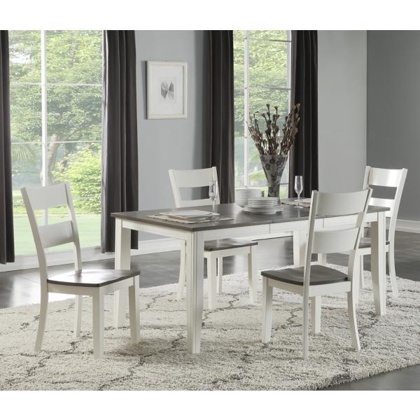 Madera White/Grey 5 Piece Leg Dining Set