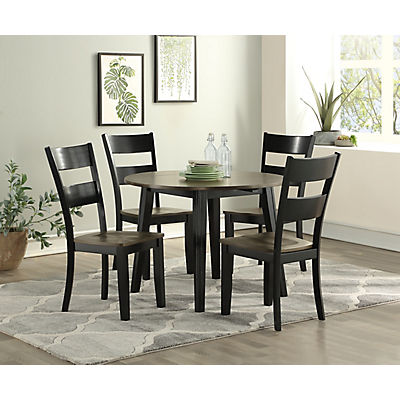 Madera Black/Grey 3 Piece Leaf Dining Set