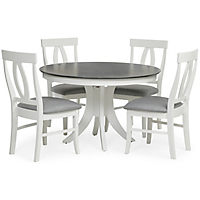 Cosmopolitan 5 Piece White Grey Dining Set