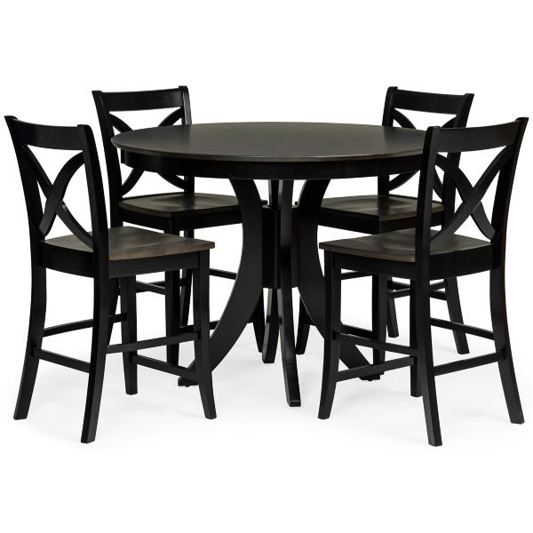 Cosmopolitan 5 Piece Counter Height Dining Set - BLACK/COAL