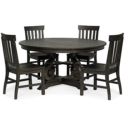 Treble 5 Piece 60 Inch Round Dining Set, 60 Inch Round Dining Table Set