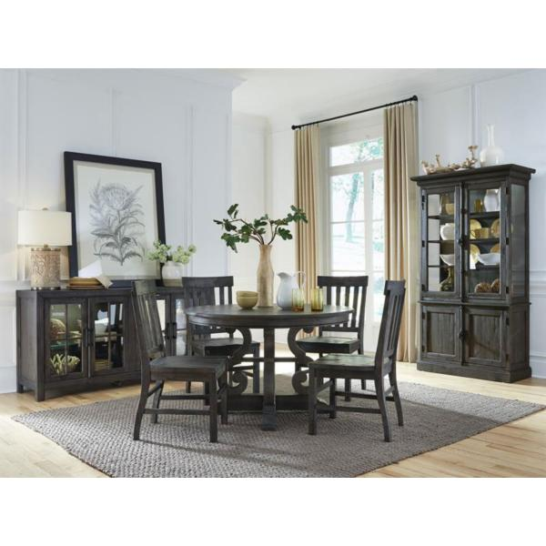 Treble II 5 Piece 60 Inch Round Dining Table Set - PEPPERCORN