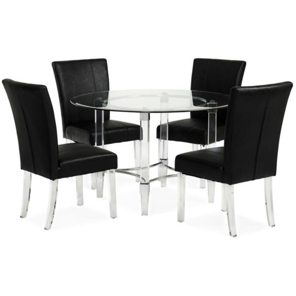 Aries 5 Piece Dining Set - BLACK