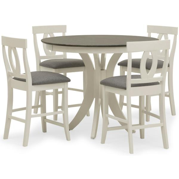 Cosmopolitan 5 Piece White/Grey Counter Height Dining Set