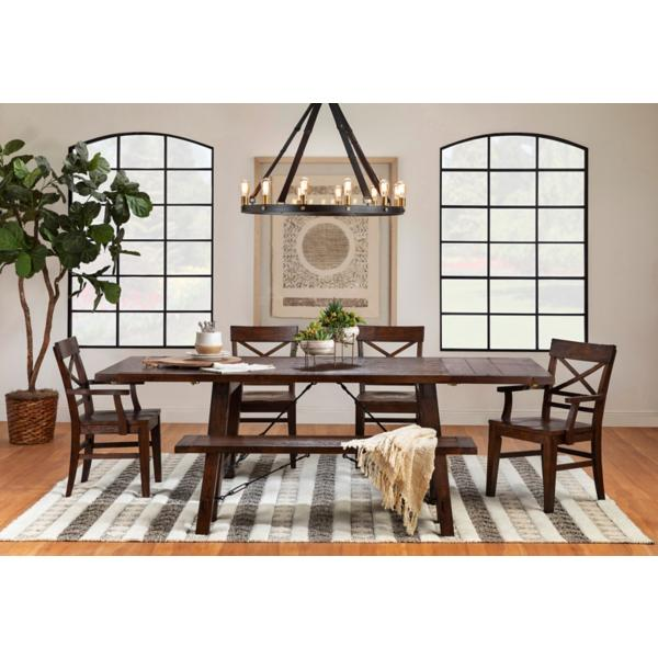 Gettysburg 6pc Set - Trestle Table, 2 Side Chair, 2 Arm Chair, and Bench