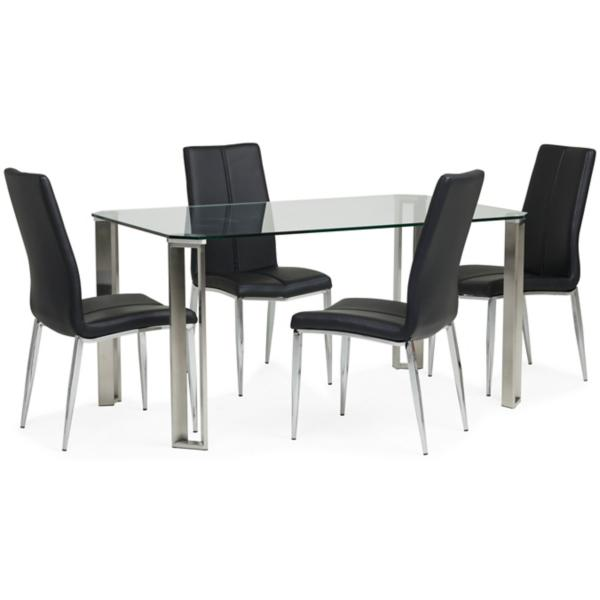 Rhonda 5 Piece Black Dining Set