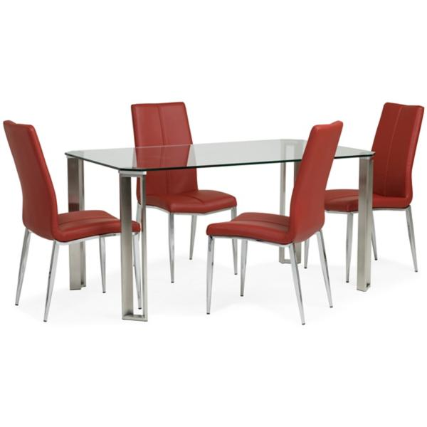 Rhonda 5 Piece Dining Set - RED