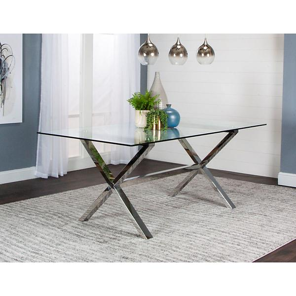 Luxe 5 Piece Glass Top Dining Room Set
