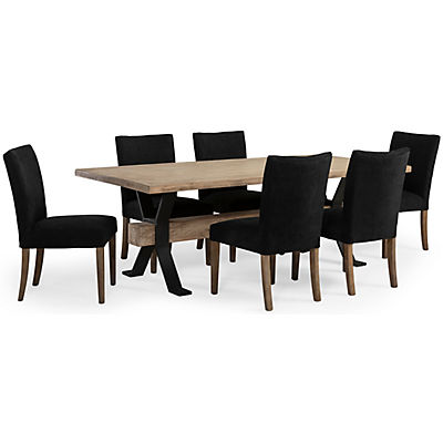 Logan 5 Piece Dining Set W/Black Upholstered Side Chairs