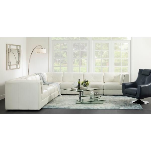 Penthouse Leather 6-Piece Modular Sectional - CREAM