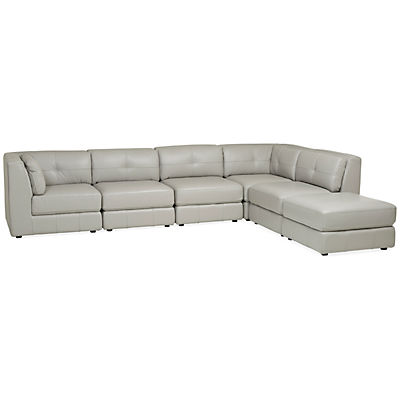 Penthouse Leather 6-Piece Modular Sectional - DOVE