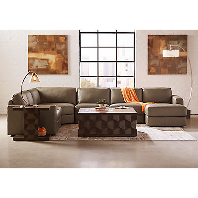 Rocco Leather 4-Piece Chaise Sectional (RAF)