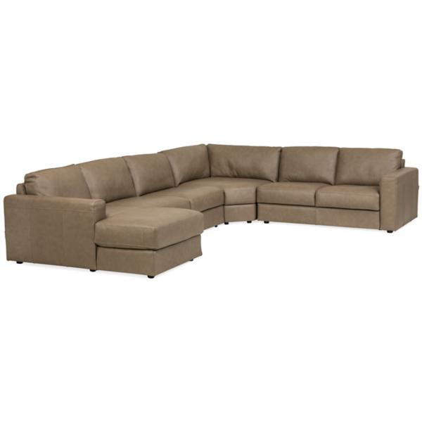 Rocco Leather 4-Piece Chaise Sectional (LAF)