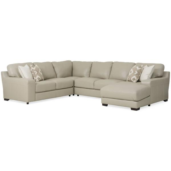 Marcus Leather 4-Piece Chaise Sectional (RAF)