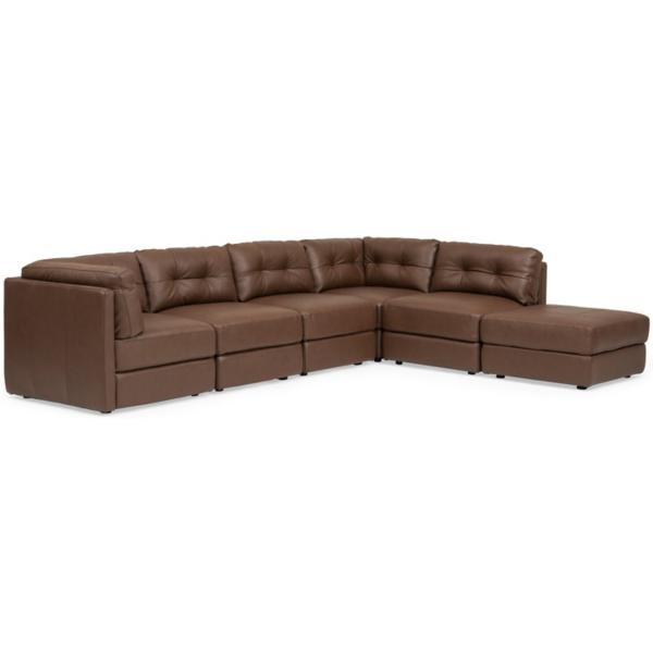 Turin Leather 6-Piece Modular Sectional - BROWN
