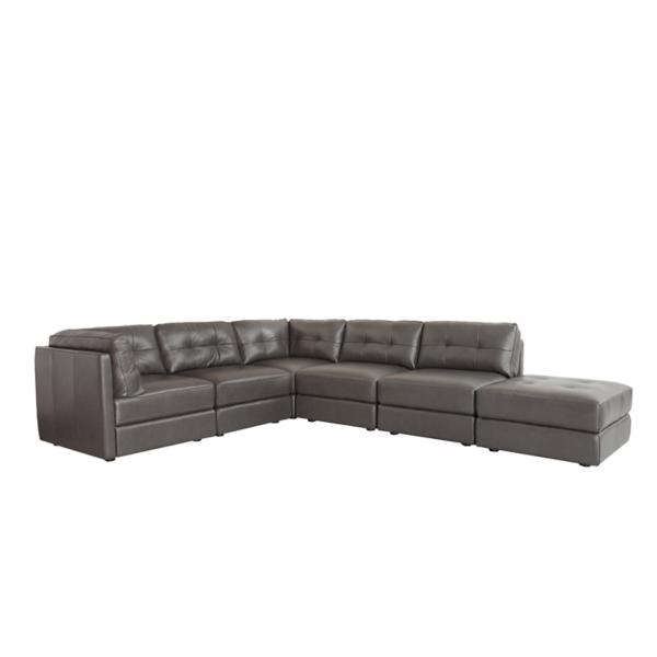 Turin Leather 6-Piece Modular Sectional - GRAY