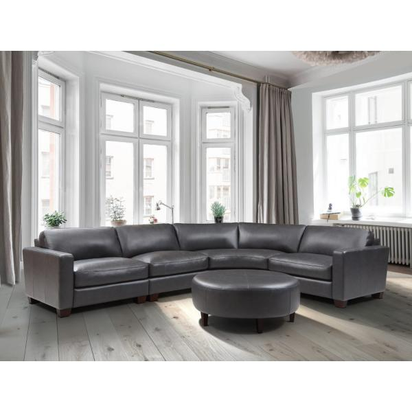 Brent Leather 4 Piece Modular Sectional