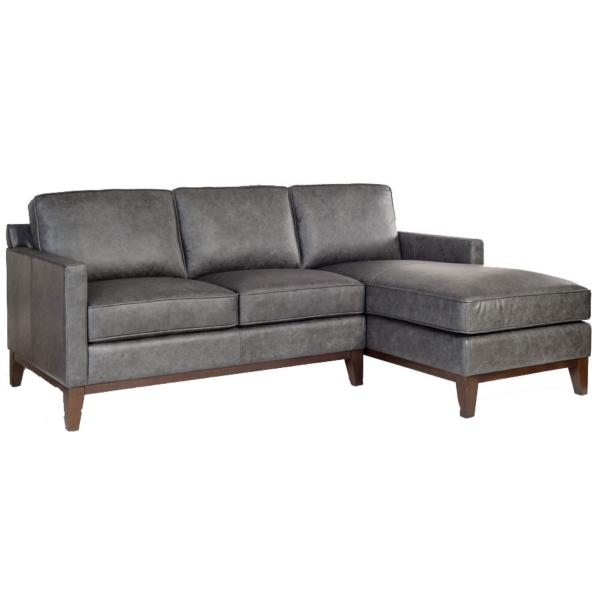 Harlow Leather 2-Piece Chaise Sectional - RAF