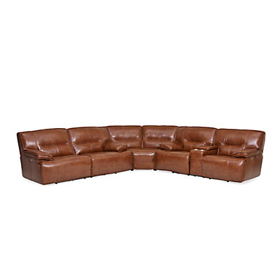 Stampede Leather 3-Piece Power Reclining Sectional - CHESTNUT