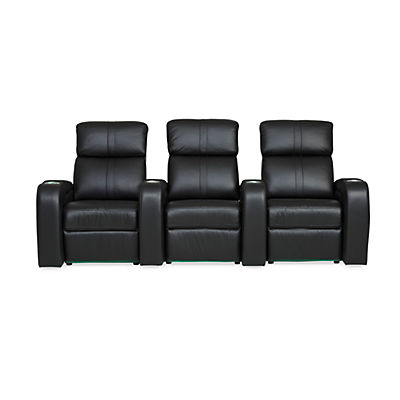 Flick Leather 3-Seat Home Theater Seating - JET BLACK