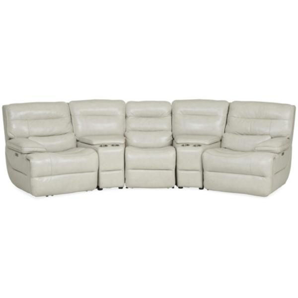 Longhorn Leather Home Theater Sectional with Wedge Console - VANILLA