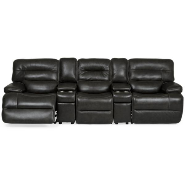 Longhorn Leather Home Theater Sectional with Straight Console - PEWTER