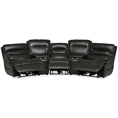 Longhorn Leather Home Theater Sectional with Wedge Console - PEWTER