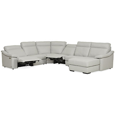 Urban Cement Leather 6-Piece Power Reclining Chaise Sectional (RAF)