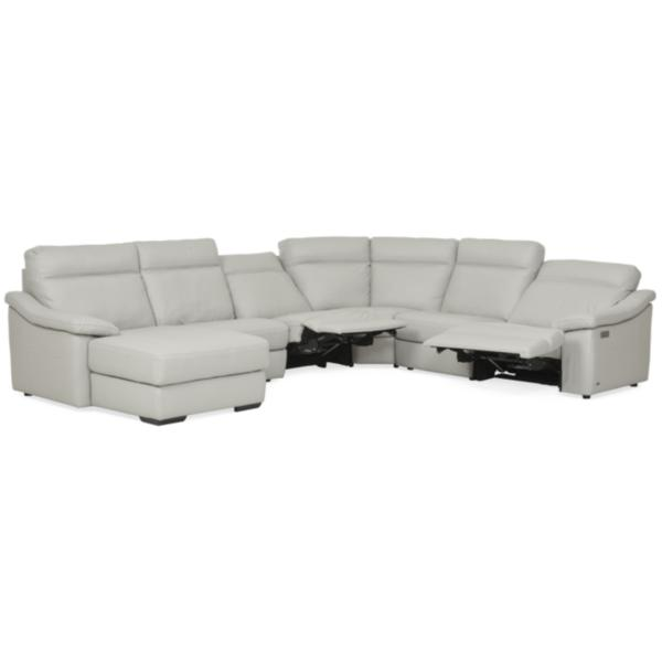 Urban Cement Leather 6-Piece Power Reclining Chaise Sectional (LAF)