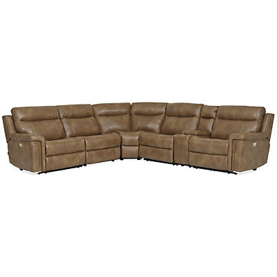 Holden Leather 6-Piece Modular Power Reclining Sectional