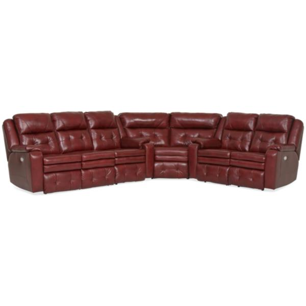 Inspire Leather 3-Piece Power Reclining Sectional - MARSALA