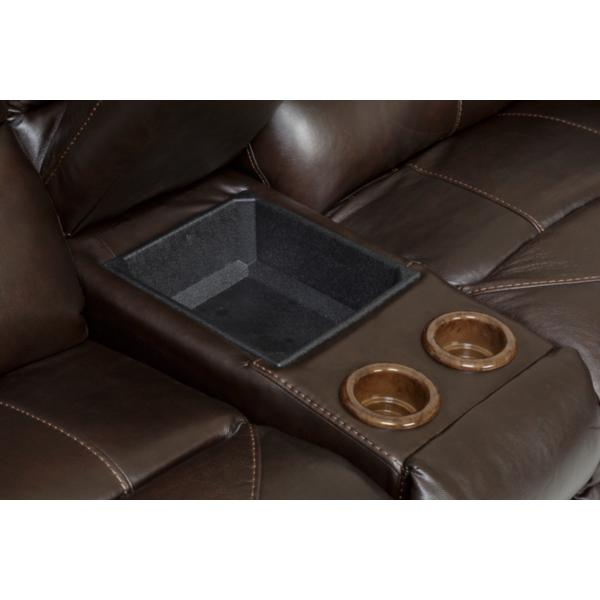 Whiskey Leather 3-Piece Power Reclining Sectional