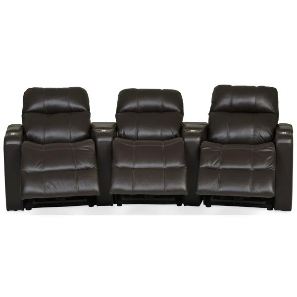 Soundtrack Leather Power Reclining Home Theater Sectional - DARK BROWN