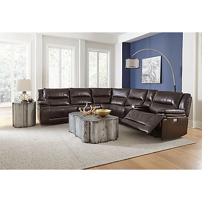 Cooper Leather 6 Piece Modular Power Reclining Sectional
