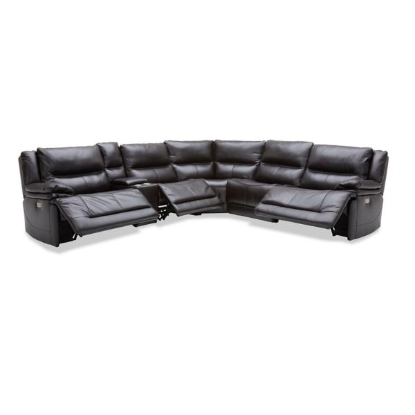 Cooper Leather 6-Piece Modular Power Reclining Sectional