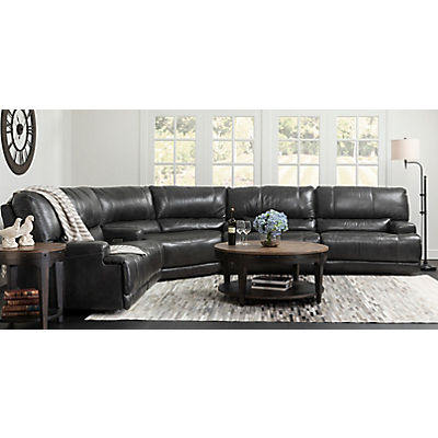 Dash Leather 3-Piece Power Reclining Sectional - CHARCOAL